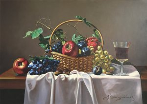 Still Life Basket of Fruits