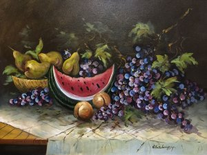 Nikos Papadopoulos: Still Life with Watermelon and Grapes