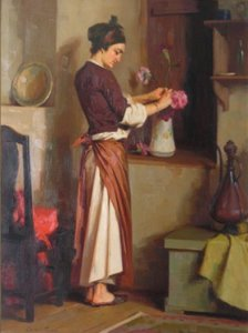Apostolos Geralis: Woman places flowers in a vase