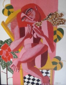 Giouli Vrana: Red Girl with Rose