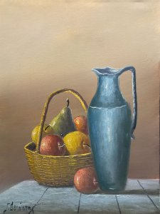 Giorgos Depastas: Still Life with Jug and Basket of Fruits